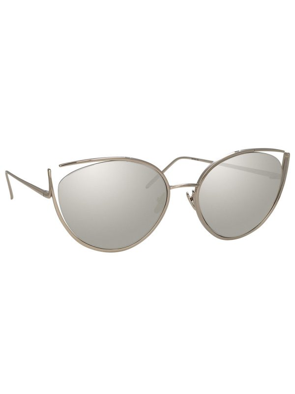 Linda Farrow Cat-Eye Open-Temple Mirrored Sunglasses - White Pattern