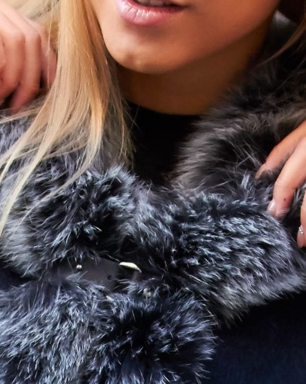 Rich Black Cashmere Cape with Scandinavian Silver Fox Fur Trim