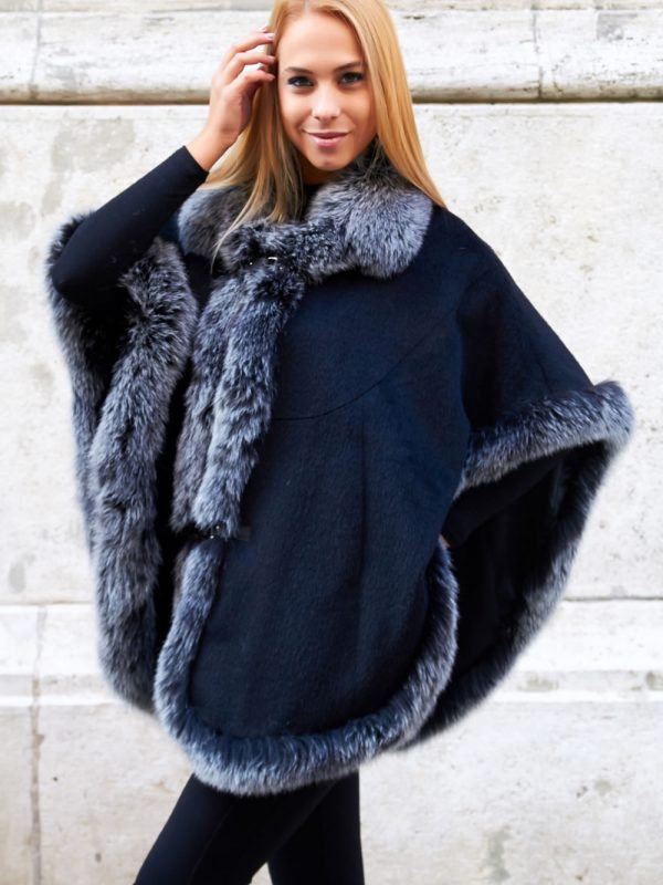 Rich Black Cashmere Cape with Scandinavian Silver Fox Fur Trim_RI_6933-bust