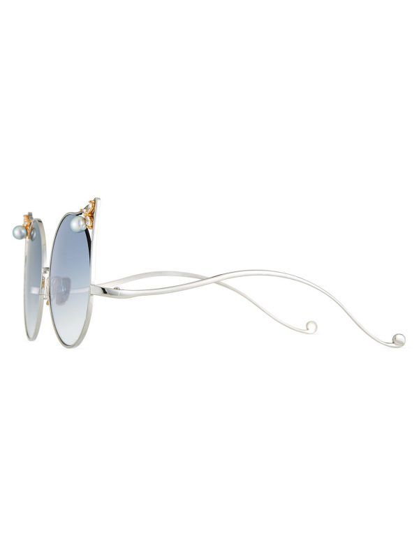 The Moon Cat-Eye Sunglasses with Swarovski Crystal and Akoya Pearl Trim